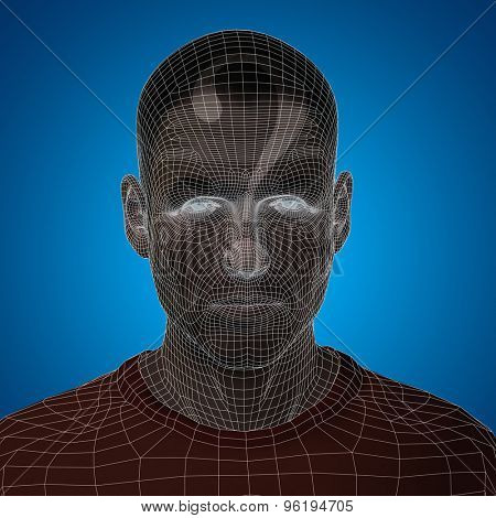 Concept or conceptual 3D wireframe young human male or man face or head on blue background with question mark