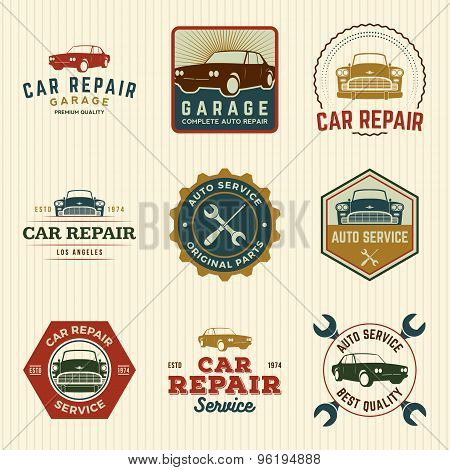 Vector Set Of Car Repair Service Labels