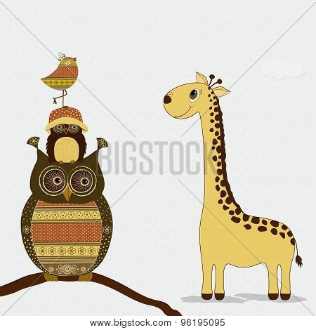 Cute Giraffe With Owls And Bird