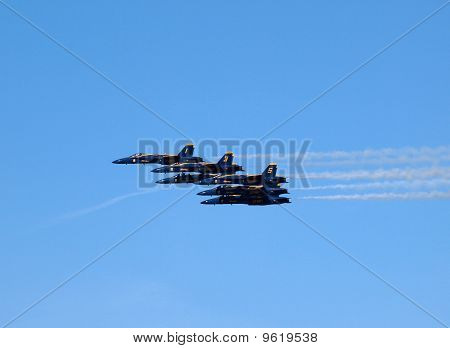 Six Blue Angels Fly In Tight Formation As Afterburns Fire