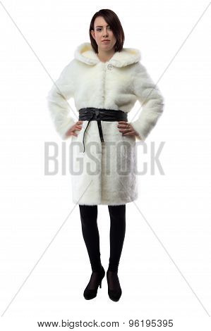 Photo of woman in white fur coat, full length