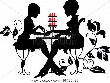 Two silhouettes of woman in manicure process