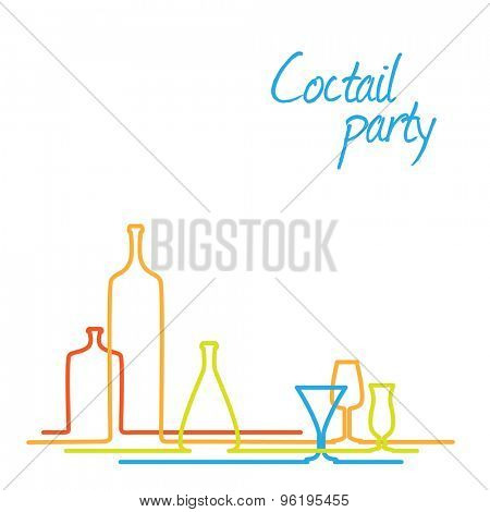Vector Cocktail party invitation card with glasses and bottles - continuous line drawing