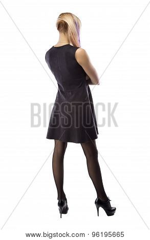 Image woman in artificial suede dress, from back