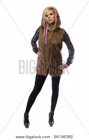 Photo of blonde in brown fur jacket, chin up