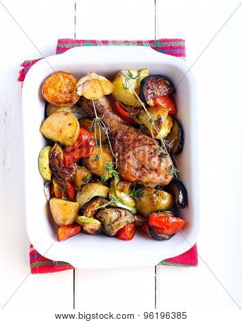 Baked Vegetables And Chicken Drumstick