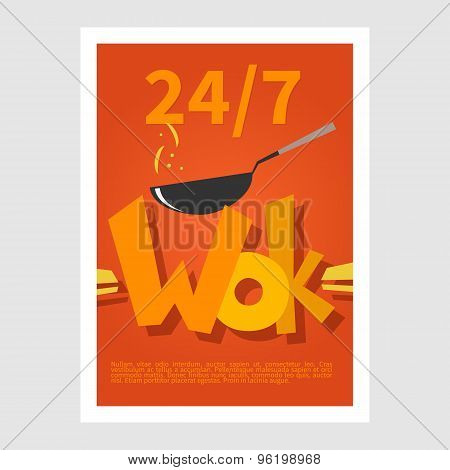 Wok poster. Template poster of  wok restaurant. Flat style illustration
