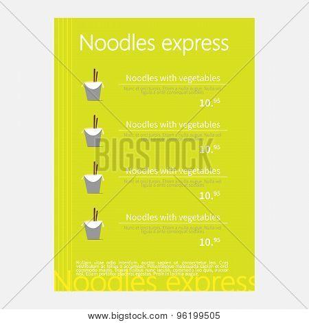 Noodles restaurant menu.