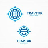 foto of cartographer  - Vector logo design element with business card template - JPG