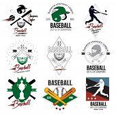 foto of baseball bat  - A set of logos, labels and design elements of baseball.  Helmets and baseball bats on the badge. - JPG