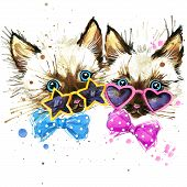Постер, плакат: kittens twins T shirt graphics kittens twins illustration with splash watercolor textured backgro