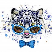 Постер, плакат: white leopard T shirt graphics cool leopard illustration with splash watercolor textured backgrou