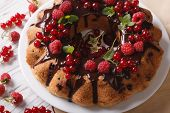 pic of sponge-cake  - Fragrant berry sponge cake with chocolate icing on a plate close - JPG
