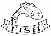 image of fish  - Fish or seafood food label of a fish and banner reading fish - JPG
