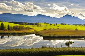 foto of bavaria  - panorama landscape in Bavaria with alps mountains mirroring in lake - JPG
