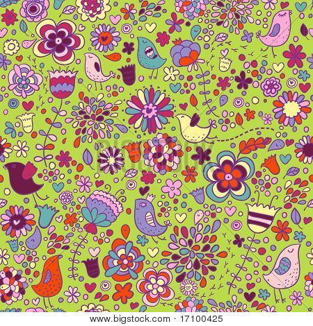 Spring vector seamless pattern with colorful flowers and birds on it