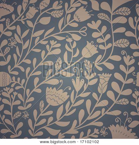 À moda retrô floral padrão sem emenda