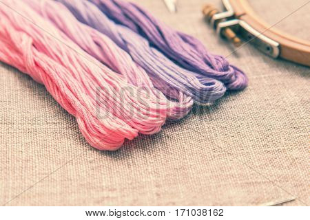 Set For Embroidery With Thread Violet Color