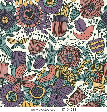 Floral seamless pattern with cartoon bird in retro style