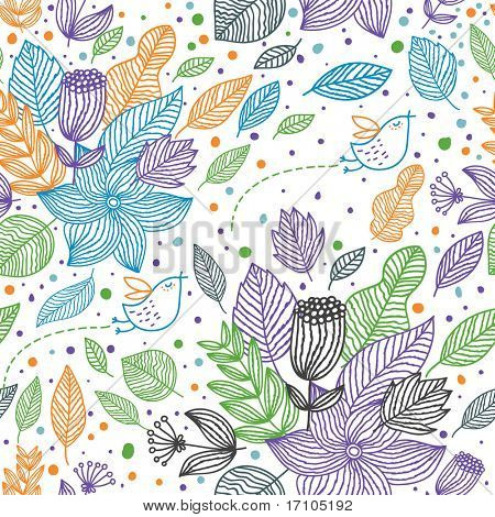 Colorful floral seamless pattern with cartoon birds