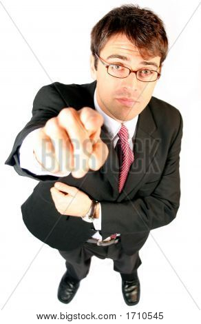 Business Man Pointing His Finger At You As The Consumer To Be Sold To An Idea Or Product Or Partners