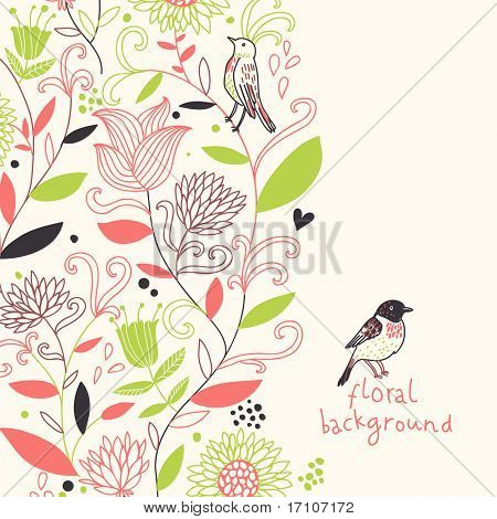 Floral spring background in stylish colors
