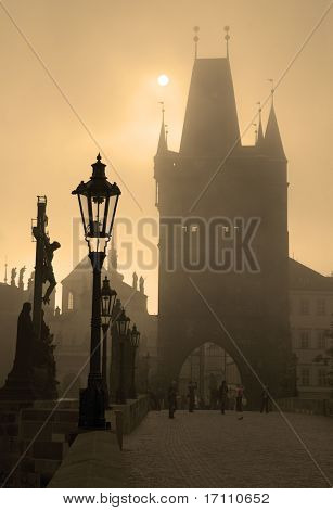 Prague - charles bridge in the morning fog