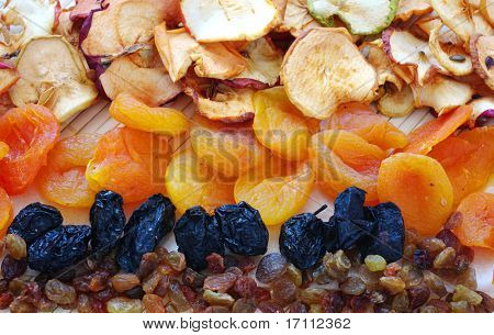 Dried fruits comprising of apricots, raisins,apple
