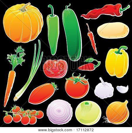 Vegetable set on black