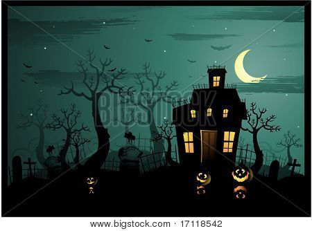 Horizontal halloween illustration with a haunted house and graveyard