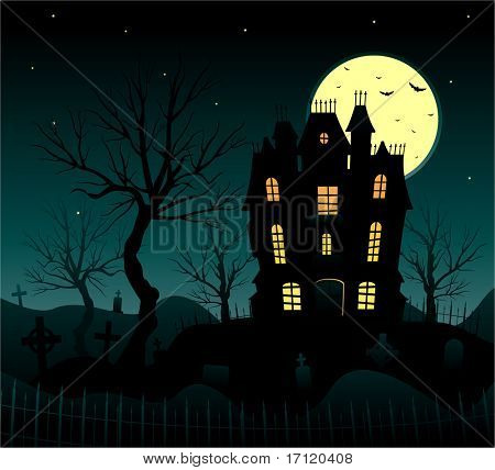 Vector halloween background haunted house