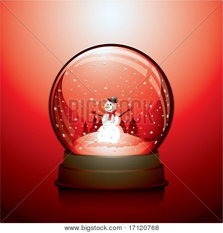 Realistic Christmas snow globe with a snowman within