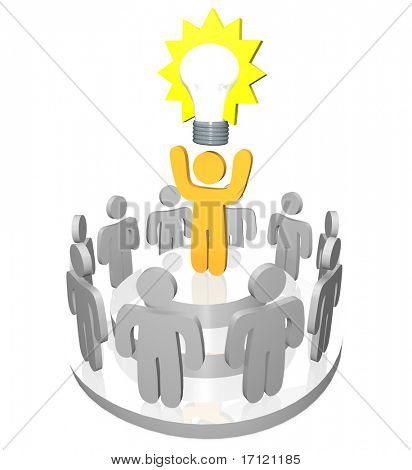 3D render of one person presenting the Big Idea in the form of a light bulb to a gathering of team members and co-workers