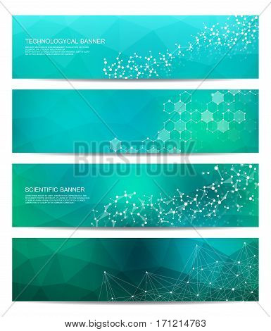 poster of Set of modern scientific banners. Molecule structure DNA and neurons. Abstract background. Medicine, science, technology, business, website templates. Scalable vector graphics
