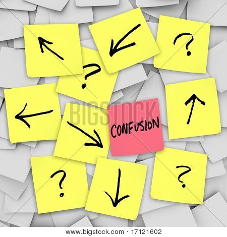 Confusion - Arrows and question marks written on sticky notes