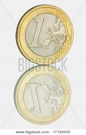 Euro coin and it's reflection