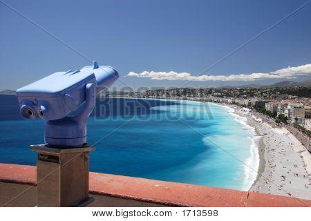 Telescope Over Nice Beach