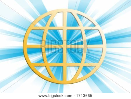 Blue Rays Through Terrestrial Sphere Globe