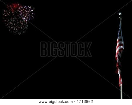 Us Flag With Fireworks To The Left
