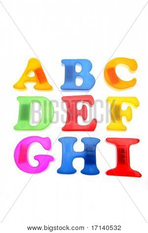 Alphabet letters over white