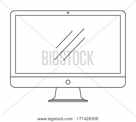 Computer monitor isolated on white background. Vector illustration