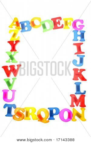 Alphabet letters over white background