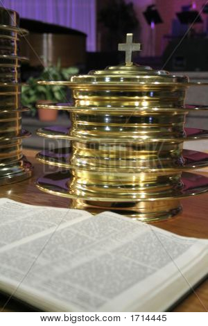 Communion Plates And Bible