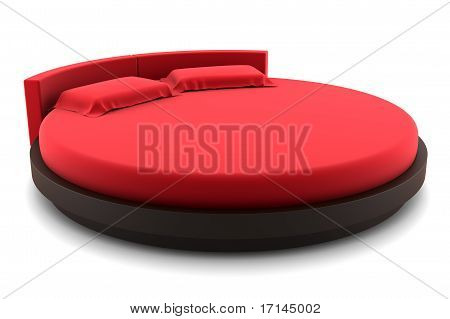 red round bed isolated on white background