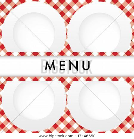 Red Gingham Menu Card Cover