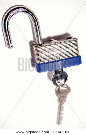 Open padlock and keys over white