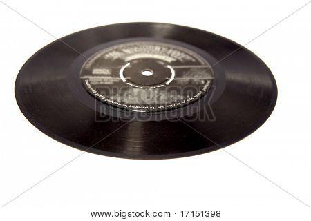 Vinyl record on white