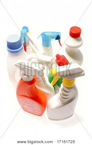 Cleaning bottles isolated over white