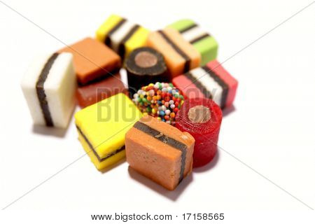 Assorted licorice on white background