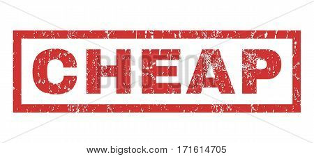 Cheap text rubber seal stamp watermark. Caption inside rectangular shape with grunge design and scratched texture. Horizontal vector red ink sticker on a white background.